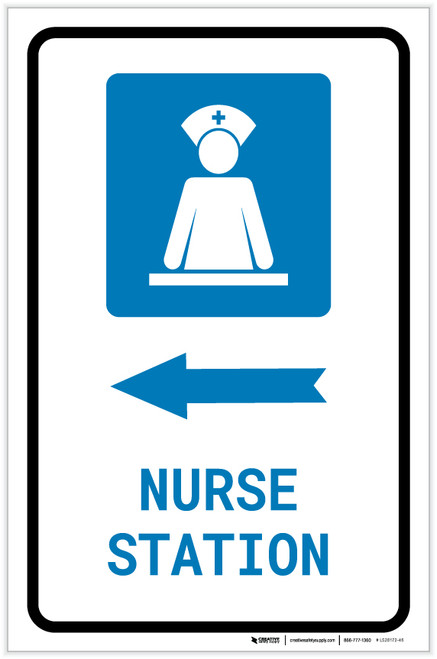 Nurse Station Left Arrow with Icon Portrait - Label