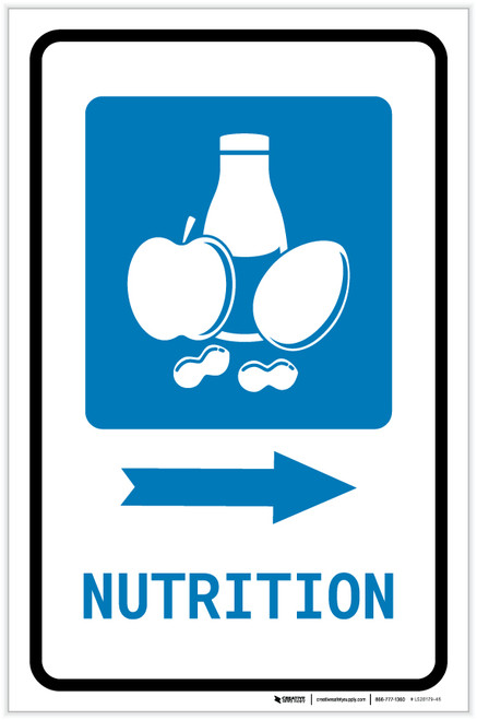 Nutrition Right Arrow with Icon Portrait - Label