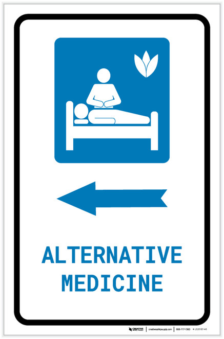 Alternative Medicine Left Arrow with Icon Portrait - Label