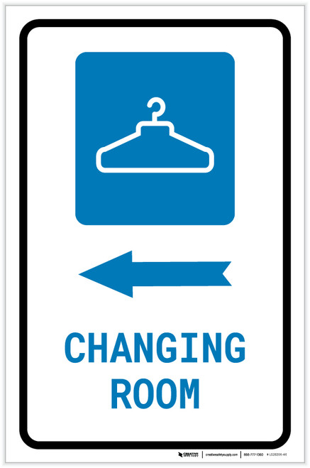 Changing Room Left Arrow with Icon Portrait - Label