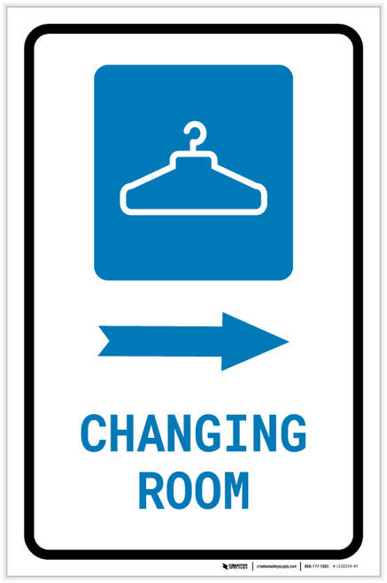 Changing Room Right Arrow with Icon Portrait - Label