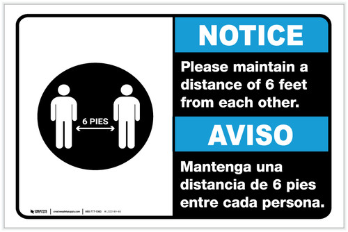 Notice: Please Maintain A Distance Of 6 Feet Bilingual with Icon ANSI Landscape - Label