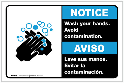 Notice: Wash Your Hands Avoid Contamination Bilingual with Icon ANSI Landscape - Label