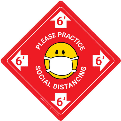Please Practice Social Distancing with Facemask Emoji - Red - Floor Sign