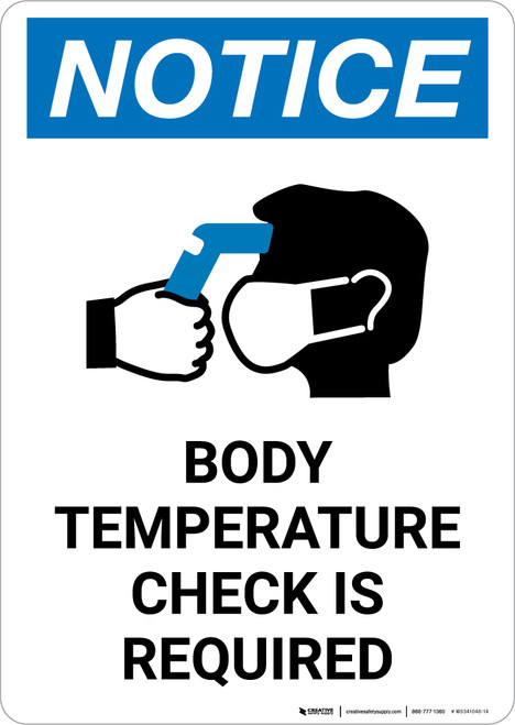 Notice: Body Temperature Check Required with Icon Portrait - Wall Sign