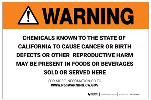 Prop 65 Food/Beverages – Label