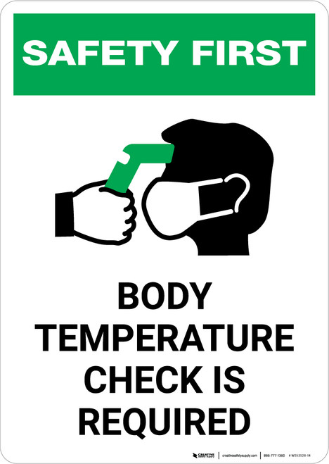 Safety First: Body Temperature Check Required with Icon Portrait - Wall Sign