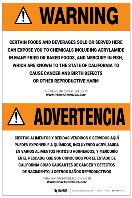 Prop 65 Food and Beverages Bilingual (Spanish) – Label