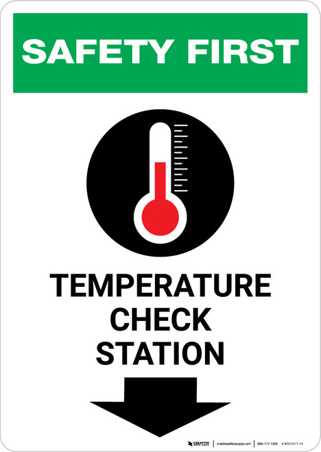 Safety First: Temperature Check Station Down with Icon Portrait - Wall Sign