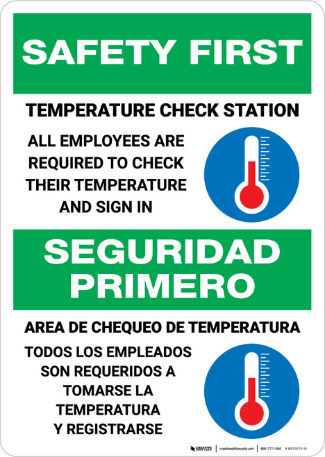 Safety First: Temperature Check Station Employees Required Bilingual with Icon Portrait - Wall Sign