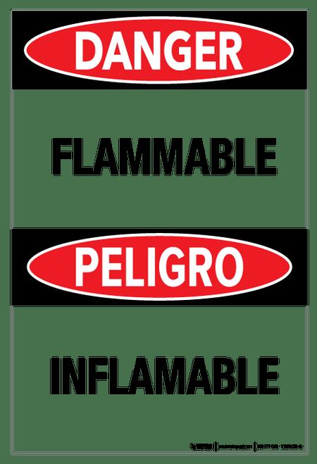 Danger - Flammable Bilingual (Spanish)  - Wall Sign