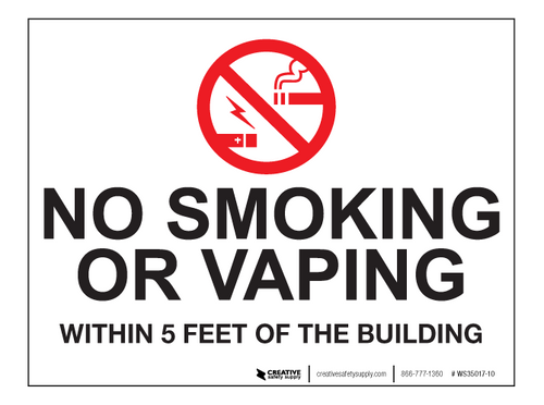 No Smoking/Vaping Within 5 Feet - Wall Sign