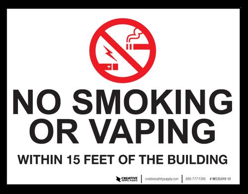 No Smoking/Vaping Within 15 Feet - Wall Sign