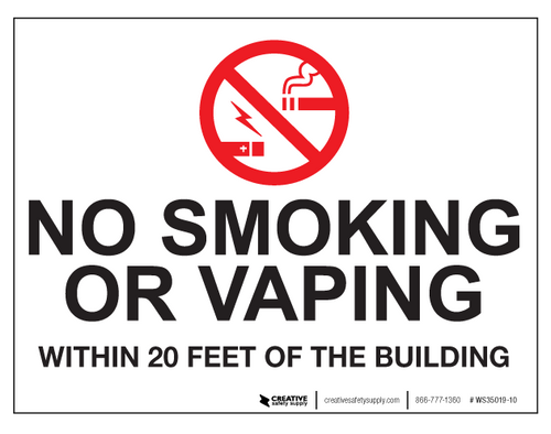 No Smoking/Vaping Within 20 Feet - Wall Sign