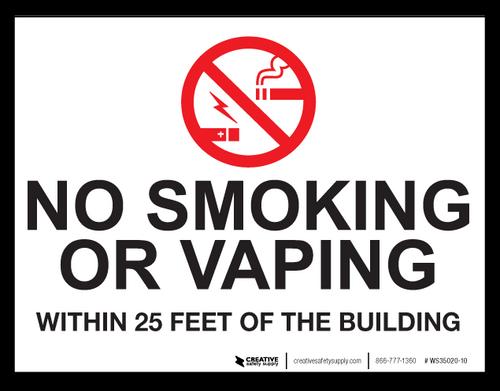 No Smoking/Vaping Within 25 Feet - Wall Sign