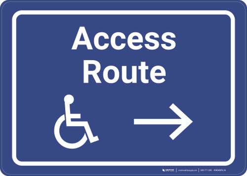 ADA Access Route Right with Icon Landscape - Wall Sign