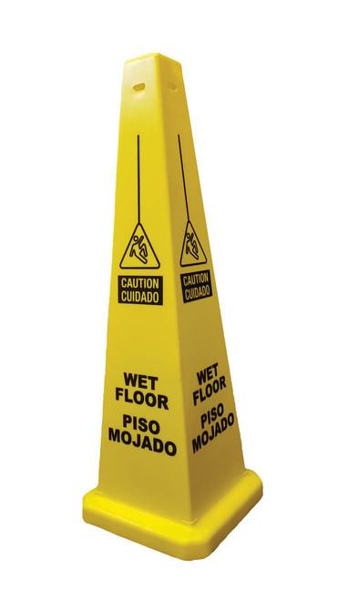 """Cortina - 36"""" Yellow Bilingual (Spanish) Wet Floor Caution Lamba Cone"""