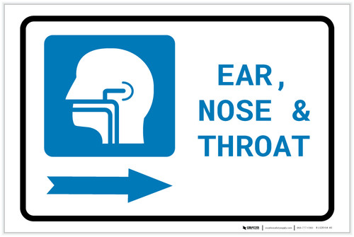 Ears, Nose, and Throat (ENT) Right Arrow with Icon Landscape - Label