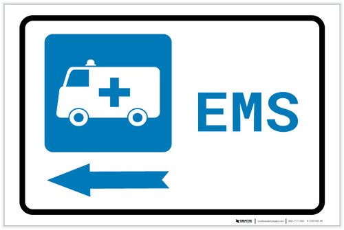 Emergency Left Arrow with First Aid Symbol Landscape - Label