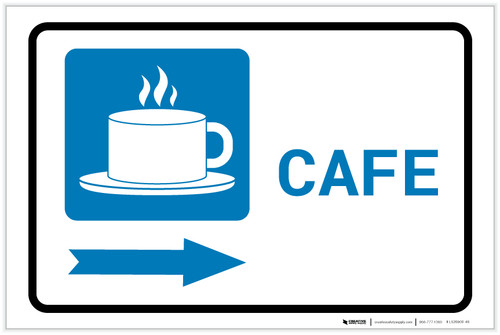 Cafe Right Arrow with Icon Landscape - Label