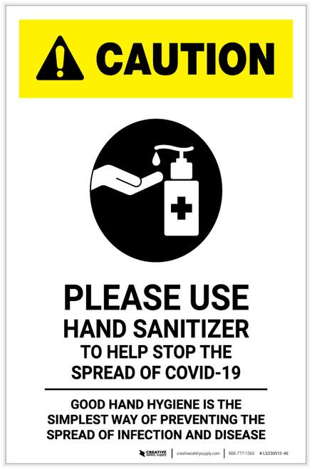 Caution: Please Use Hand Sanitizer - Good Hand Hygiene with Icon Portrait - Label