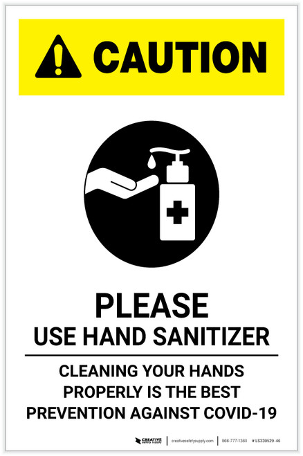 Caution: Cleaning Your Hands Properly Portrait - Label