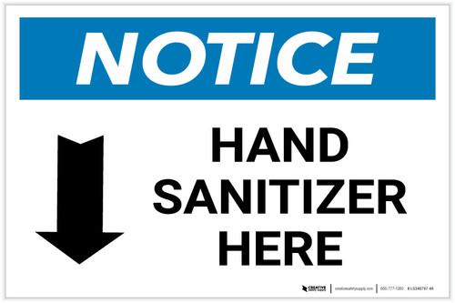 Notice: Hand Sanitizer Here Down Arrow Landscape - Label