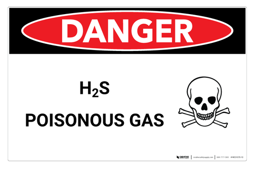 Danger: H2S Poisonous Gas (Hydrogen Sulfide) - Wall Sign