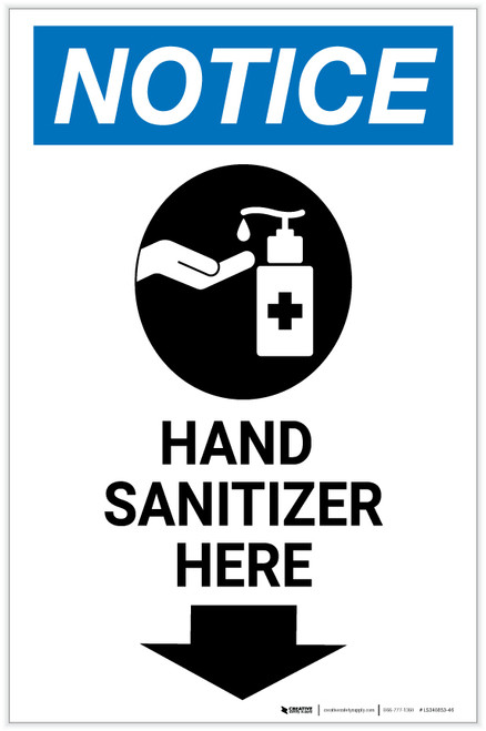 Notice: Hand Sanitizer Here Down Arrow with Icon Portrait - Label