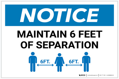 Notice: Maintain 6 Feet of Separation with Icon Landscape - Label