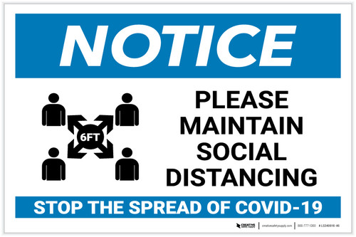 Notice: Please Maintain Social Distancing in Waiting Room Landscape - Label