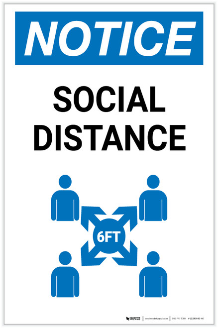 Notice: Social Distance with Icon Portrait - Label