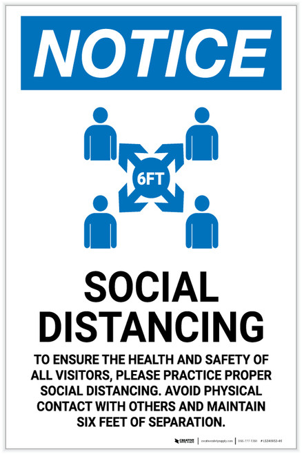 Notice: Social Distancing Wait Here Until Called with Icon Landscape - Label