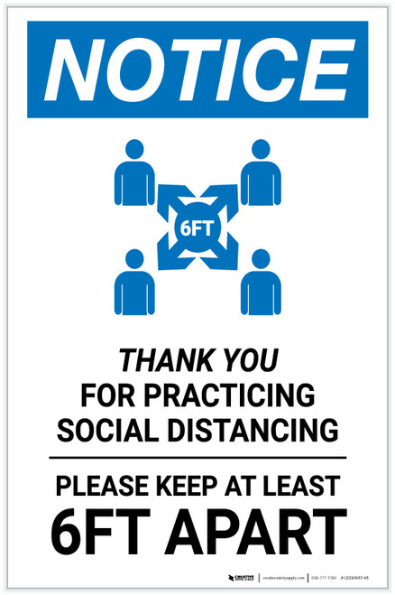 Notice: Thank You For Practicing Social Distancing with Icon Portrait - Label