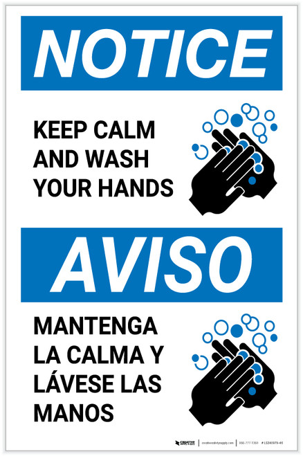 Notice: Keep Calm and Wash Your Hands Bilingual with Icon Portrait - Label