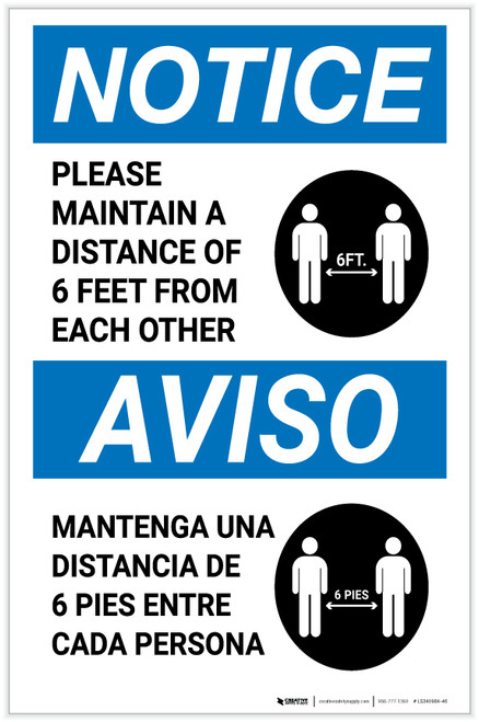 Notice: Please Maintain A Distance Of 6 Feet Bilingual with Icon Portrait - Label