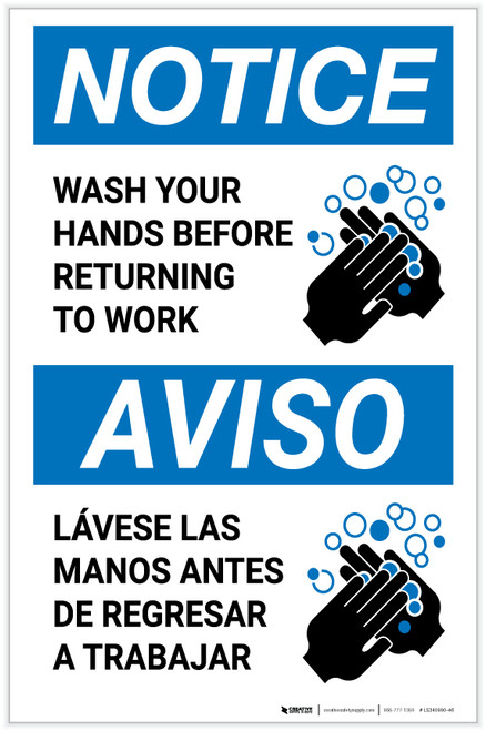 Notice: Wash Hands Before Returning To Work Bilingual with Icon Portrait - Label