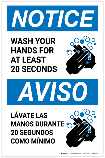 Notice: Wash Your Hands For At Least 20 Seconds Bilingual with Icon Portrait - Label