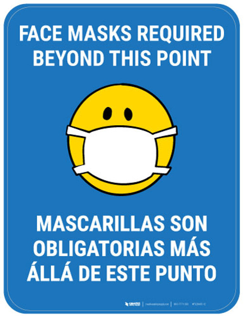 Face Masks Required Beyond This Point Bilingual with Facemask Emoji - Blue - Floor Sign