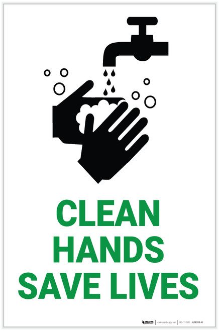Clean Hands Save Lives with Icon Portrait - Label