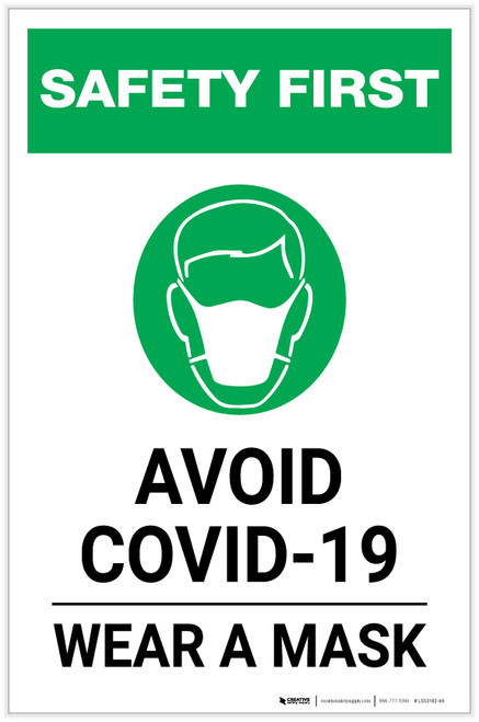 Safety First: Avoid COVID-19 Wear a Mask with Icon Portrait - Label