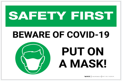 Safety First: Beware of COVID-19 Put a Mask On with Icon Landscape - Label