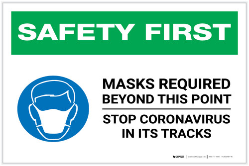 Safety First: Mask Required Beyond This Point Stop Coronavirus with Icon Landscape - Label