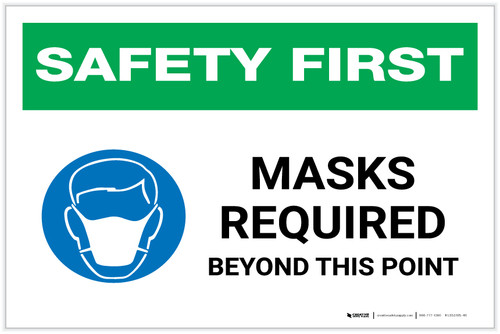 Safety First: Masks Required Beyond This Point with Icon Landscape - Label