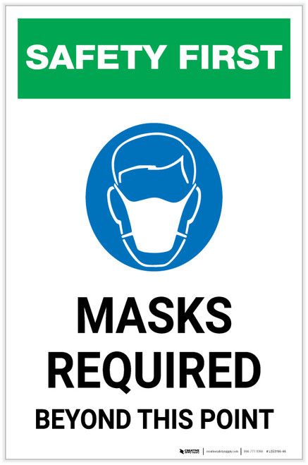 Safety First: Masks Required Beyond This Point with Icon Portrait - Label
