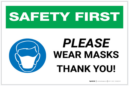 Safety First: Please Wear Masks - Thank You with Icon Landscape - Label