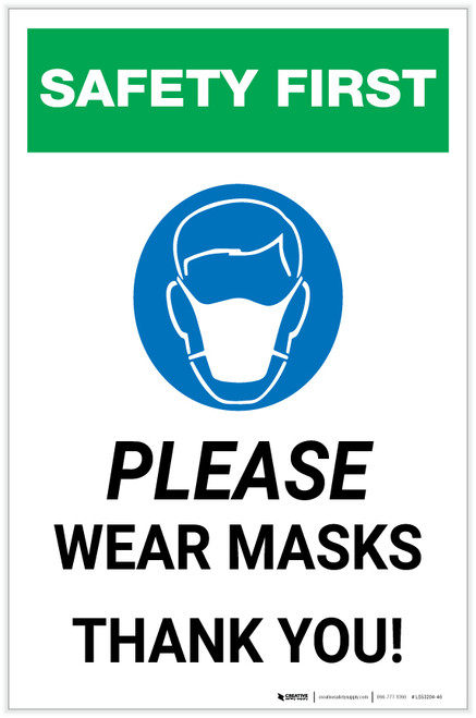 Safety First: Please Wear Masks - Thank You with Icon Portrait - Label