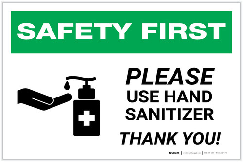 Safety First: Please Use Hand Sanitizer - Thank you with Icon Landscape - Label