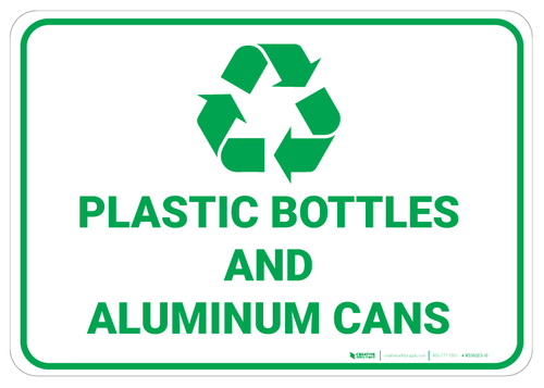 Plastic Bottles and Aluminum Cans Recycling - Wall Sign