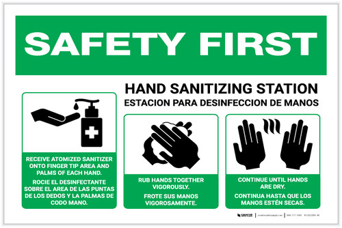 Safety First: Bilingual Hand Sanitizing Station 3-Steps with Icons Landscape - Label